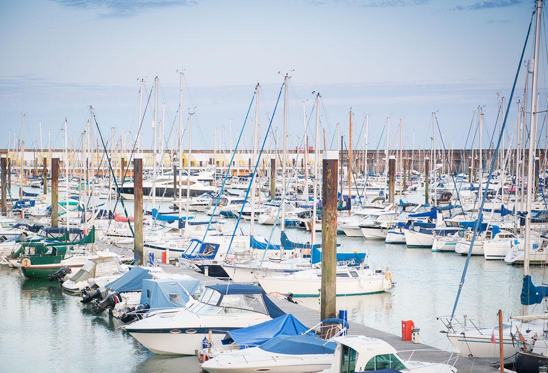 Boats at Brighton Marina view
